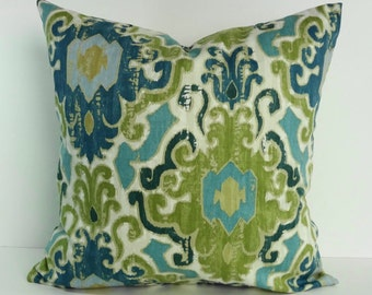 THROW PILLOW sham / cover fits 18x18 teal blue turquoise green bold Ikat print.