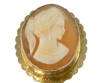 Vintage 1960's Gilded 800 Silver Tourist Cameo Pendant / Pin - Shell Cameo Brooch - Girl with Ponytail Pin