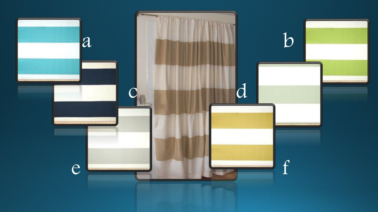 Horizontal Six Inch Stripes Curtain Panels by ThePincushionStore