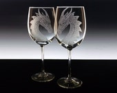 Wedding Glass Set - custom wine glass set dragons etched wine glasses personalised