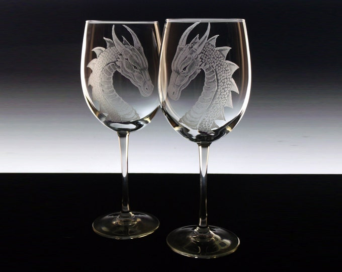 Wedding Glass Set  Dragons custom wine glass set dragons etched large wine glasses personalised