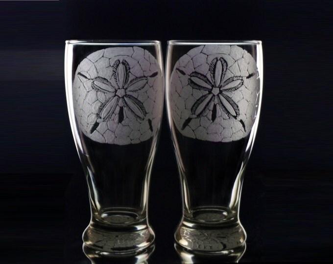 Sand Dollar Pilsner Glass Set  Beer Glass   Beach Glasses  Sanddollars   Sea Shell Gift Ideas host and hostess gift
