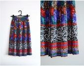SALE Pleated Midi Skirt - accordion pleats, multi-coloured, abstract print, blue, green, red, white, xs - small