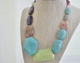 Mixed Stone Necklace Chunky Turquoise Green Turquoise Necklace
