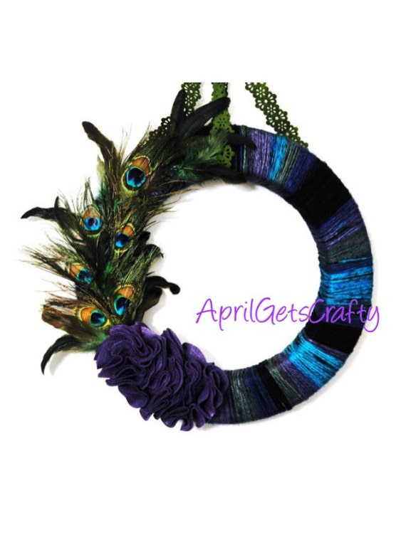 Peacock Yarn Wreath 18 inch Jewel Colors Wall Door Hanging Wedding Decor Peacock