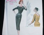 Retro 1955 Butterrick Sewing Pattern Dress Suit with Wriggle Skirt B5557 Uncut