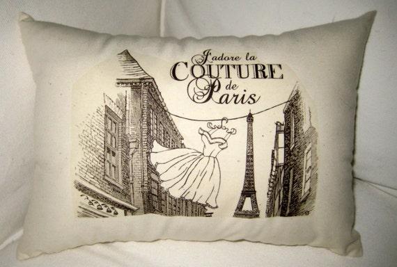 J'adore la Couture de Paris Pillow, French Inspired Eiffel Tower Cushion, Fashion, Neutral Shabby Chic Home Decor, France