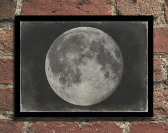 Moon Vintage Astronomy Steampunk Art Print Poster