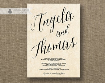 Parchment Script Wedding Invitation Hand Drawn Calligraphy Script Modern Marriage FREE PRIORITY SHIPPING or DiY Printable - Angela