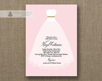 Blush Pink & Gold Glitter Wedding Gown Bridal Shower Invitation Simple Modern Wedding Invite Printable Digital or Printed - Hazel
