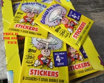 1 Pack Vintage Garbage Pail Kids Sticker Cards Topps 1986 Series 4 Unopened Pack of Cards 80s 4th Series GPK Collectible Cards 1980s VTG