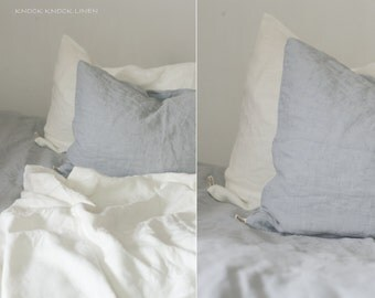 set of 2 LINEN PILLOW CASES / envelope closure