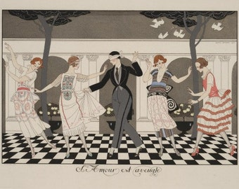 ART DECO Home Decor PRINT of Fabulous Dance Party Game by famed Georges Barbier