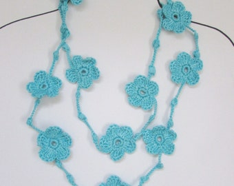 Crochet necklace, Flowers necklace, Crochet Jewelry.
