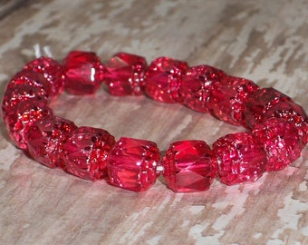 Red 8mm Cathedral Bead Czech Glass Faceted Barrel RED HOT RED (10)