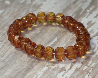 Topaz 4x6mm Czech Glass Rondelle Bead Copper Faceted Gemstone Donut CANDIED GINGER (25)