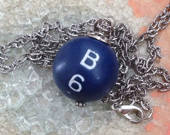 Blue Bingo Ball Necklace on silver chain, vintage game piece