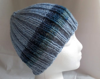 Blue Striped Ski Hat, Warm Winter Boys Hat, Wool Striped Beanie, Winter Hat for Teens, Knit Wool Beanie, Unisex Teen Beanie