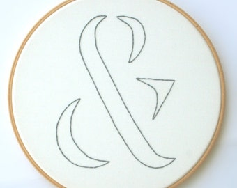 Ampersand hoop art / made to order / white background and your choice of thread color / photo prop / home decor