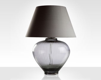 Ellie Smoke Gray Table Lamp with Pewter Silk Shade