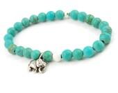 Turquoise Elephant Bracelet - Silver - Magnesite - Gemstone