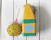 Beach Decor Set: Green Yellow Lobster Buoy and Yellow Glass Fishing Float in Rope by SEASTYLE