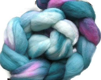 Polwarth Wool Roving - Wet Felting Roving - Nuno Felting Roving - Hand Dyed Spinning Fiber - Pink Roving - Green Roving - Blue Roving - Felt