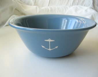 SALE reCYCLEd blue bowl with anchor
