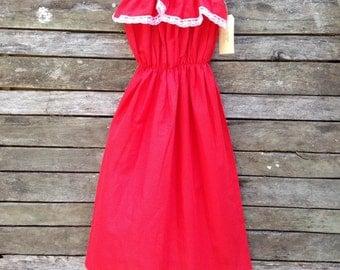 1970's Red with White Polka Dot Boho Dress