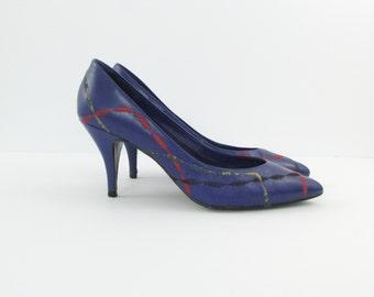 Vintage 1980s Purple High Heels Size 5 / 5.5 - Colorful Leather Pumps