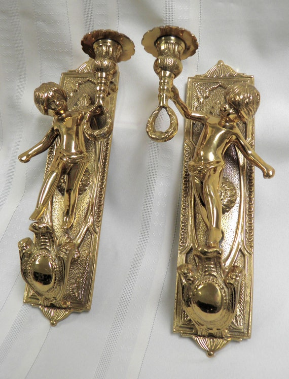 Vintage Sconces PAIR Bronze Cherub Sconces Ornate Bronze/Brass