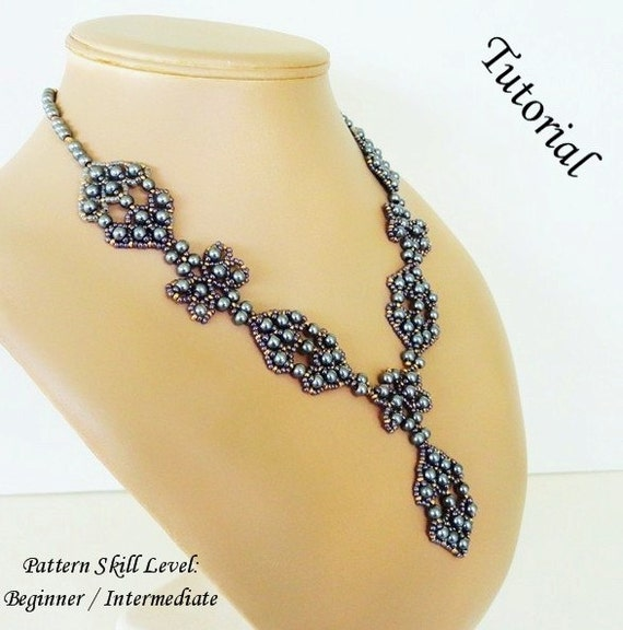 SILVER BULLET beaded necklace beading tutorials and patterns seed bead beadwork jewelry beadweaving tutorials beading pattern instructions