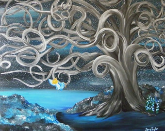fairy painting, fantasy painting, fantasy tree, fine art, starry night, beach painting, beachy, original painting