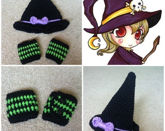 Crochet Witches Hat and Leg warmer Set (hat and leg warmer)