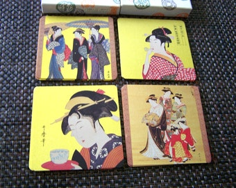 """Vintage 60's """"UKIYOE COASTERS""""  Peacock card Japanese Genre Picture Boxed Set of 8"""