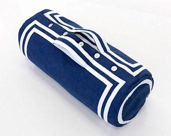 Victorian Travel Bag - Blue Linen / White Trim