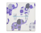 Purple and Gray Elephant Nursery Decor / DOUBLE Toggle Light Switch Plate Cover / Baby Girl / Lilac White