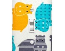 Hippo Light Switch Plate Cover / Baby Boy Safari Nursery Decor / Gender Neutral Yellow Aqua Gray / Robert Kaufman