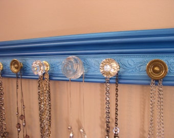 "Wall jewelry Rack. This necklace organizer has 7 knobs blue metallic background and embossed area 20""  gift,decor, storage"
