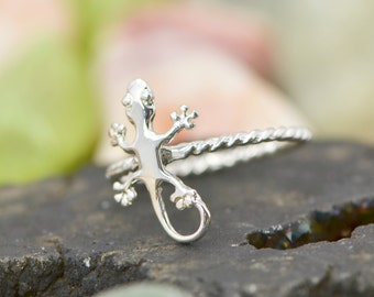 Gecko Ring - Stacker Ring - Lizard Ring - Gecko Jewelry - Silver Lizard - Lizard Jewelry - Silver Gecko