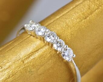 Moissanite Anniversary Ring - Sterling Silver Ring - Gemstone Jewelry - White Gemstone - Moissanite Ring - Moissanite Anniversary Band