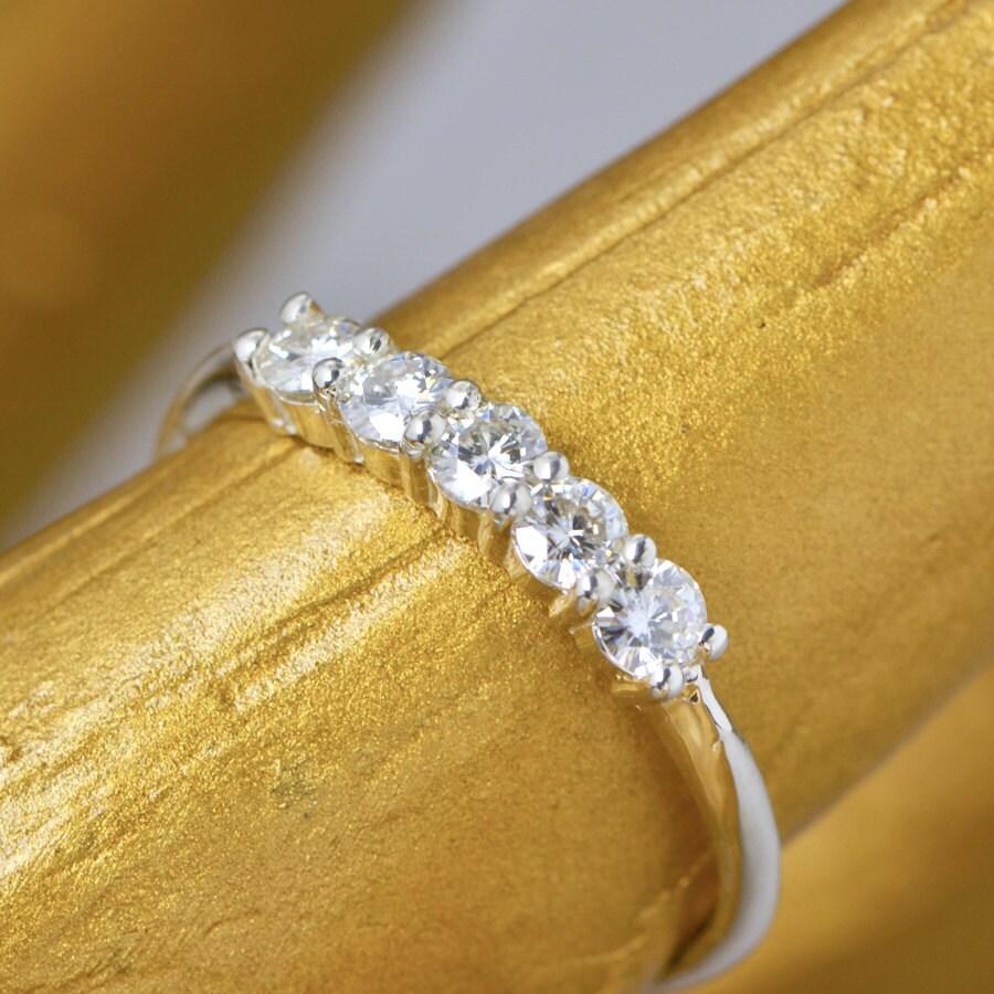 moissanite anniversary ring sterling silver ring gemstone