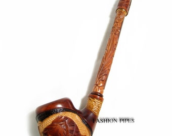 "NEW Churchwarden Wooden Pipe ""LION"" Decorated with Leather. Tobacco Pipe, Handcrafted Smoking Pipe of Pear Wood 13''"