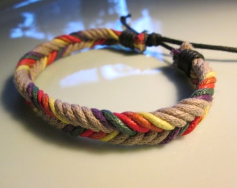 bracelet  new HANDMADE woven SAND -primary colors  right off the european runways