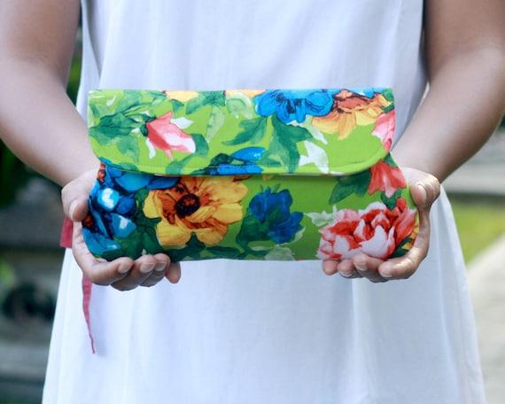 Green clutch summer bright floral, limited edition, bridesmaid clutch
