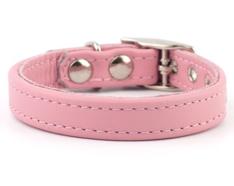 Soft Baby Pink Leather Dog Collar