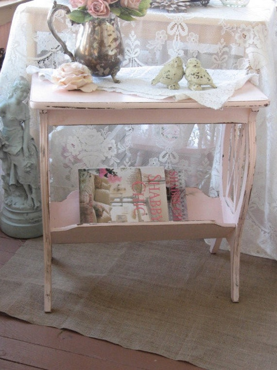 shabby chic pink table vintage lyre table magazine rack. Black Bedroom Furniture Sets. Home Design Ideas