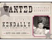 Wanted Cowboy/Cowgirls Birthday Invitation (GIrls) - Digital File