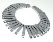 Silver Hematite Gemstone Graduated Set Stick 30x4mm-12x4mm Loose Beads 7 inch (90189095-199)