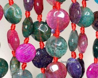 14mm Fire Agate Gemstone Rainbow Flat Round Circle 14mm Loose Beads 16.5 inch Full Strand (90145986-251)